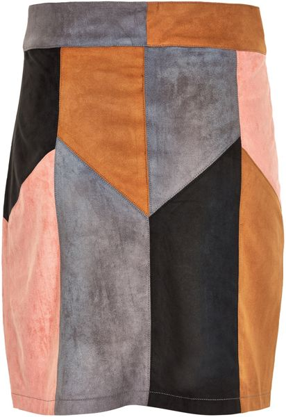 Soaked in Luxury Faux Suede Patchwork Skirt