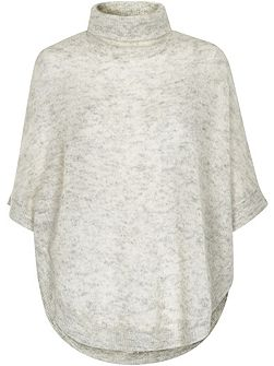 Roll Neck Mohair Blend Poncho