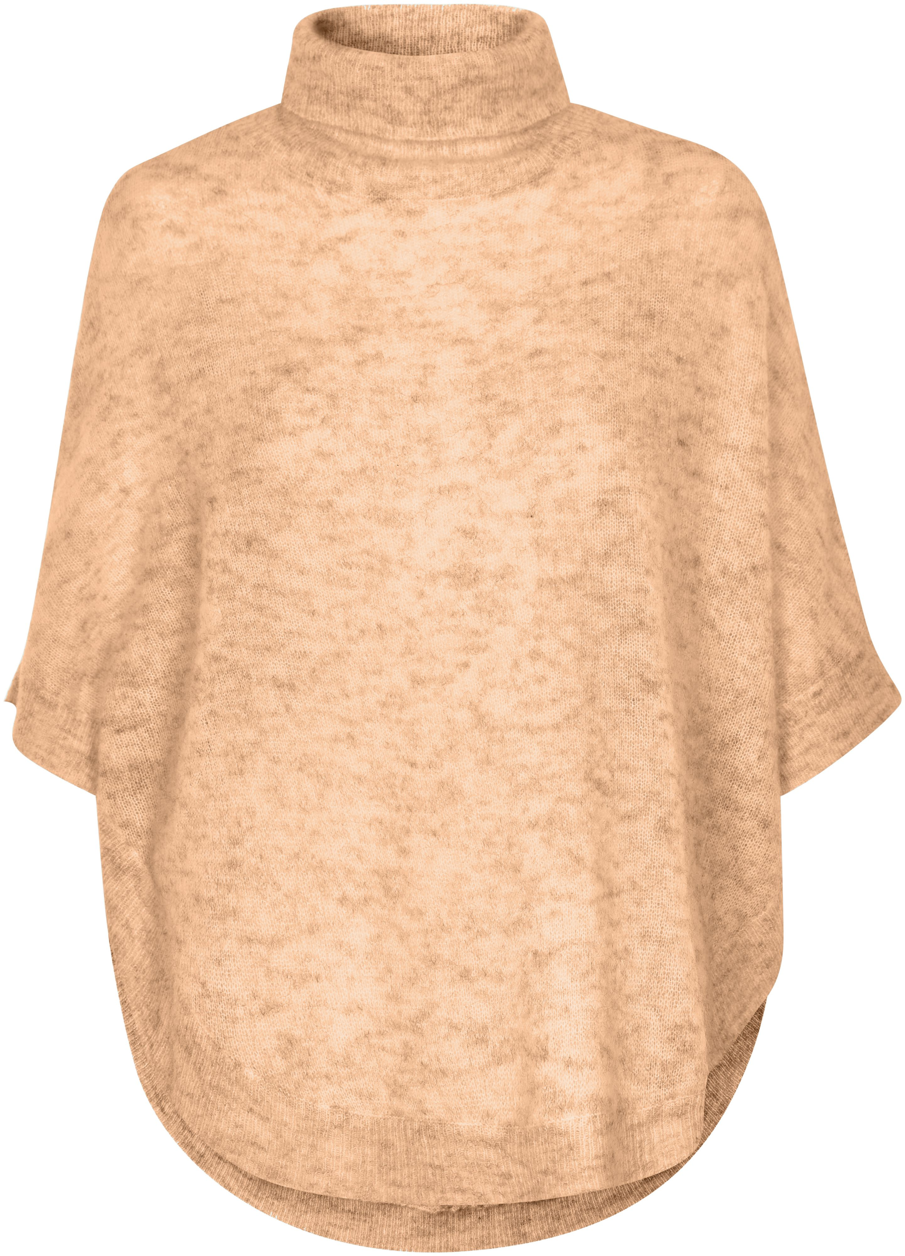 Soaked in Luxury Soaked in Luxury Roll Neck Mohair Blend Poncho, Beige