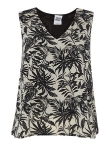 V neck sleeveless tropical print top