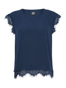 Y.A.S. Shortsleeved lace trim top