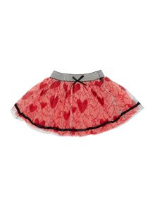 Girls Heart Print Tulle Skirt