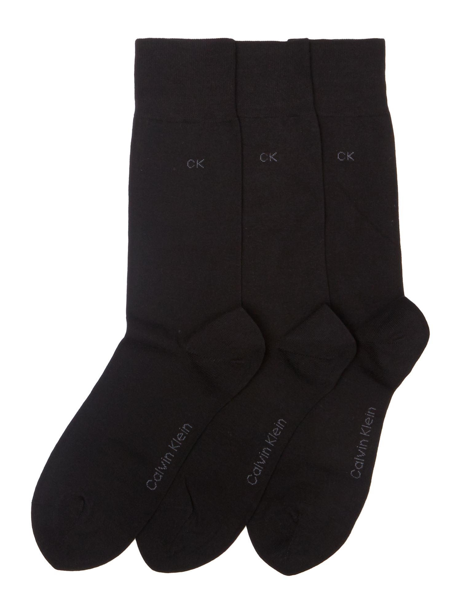 Mens Calvin Klein Three pack flat knit socks Black