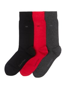 Three pack flat knit socks