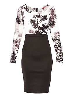 Printed Longsleeve Bodycon Dress