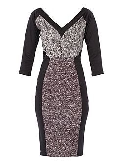 Printed V neck Bodycon Dress
