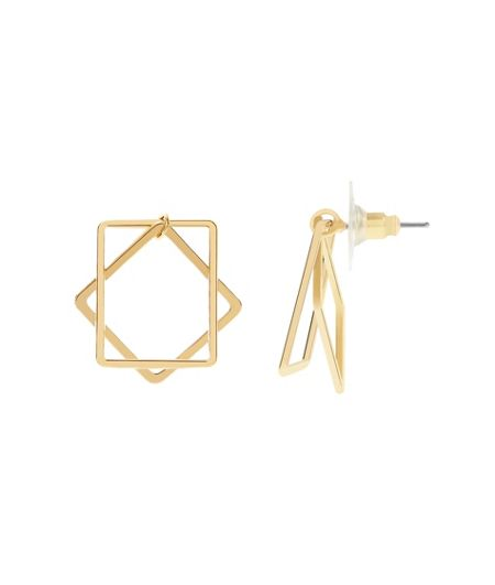 MAIOCCI Collection Gold square duo earrings