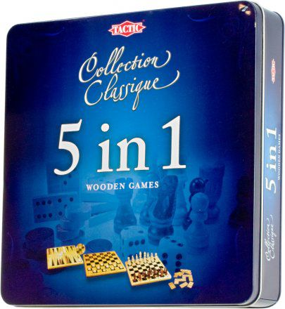 5 in 1 Wooden Game Collection Tin Box