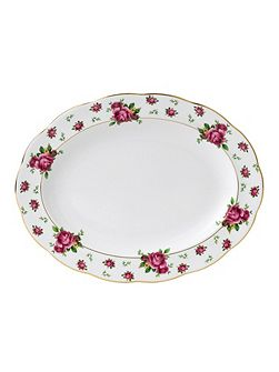 New country roses white oval platter 33cm