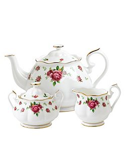 New country roses boxed 3 piece tea set