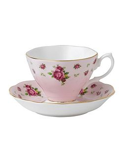 New country roses pink teacup &saucer boxed