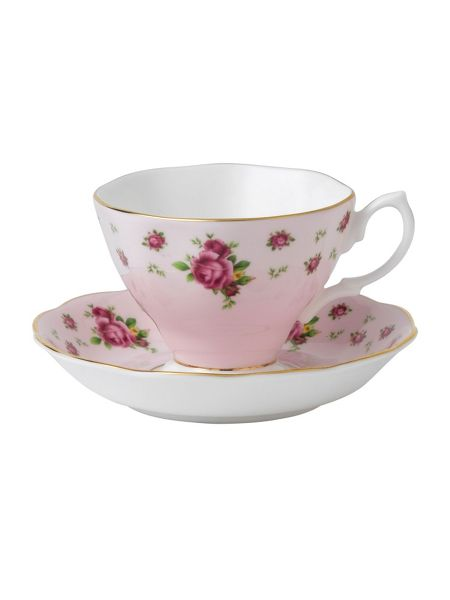 Royal Albert New country roses pink teacup &saucer boxed