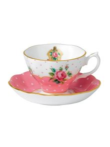 Cheeky Pink Vintage tea cup and saucer set