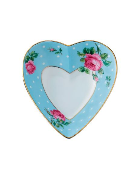 Royal Albert Polka blue ceramic heart tray