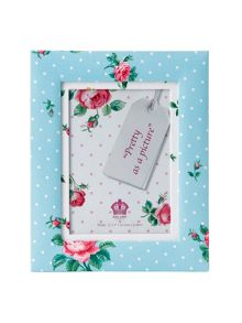 Polka blue large fabric photo frame 12.7cm x 17.8