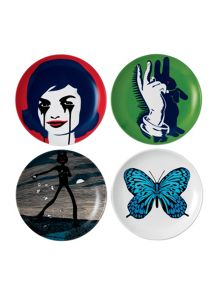 Limited edition pure evil set of 4 ceramic plates
