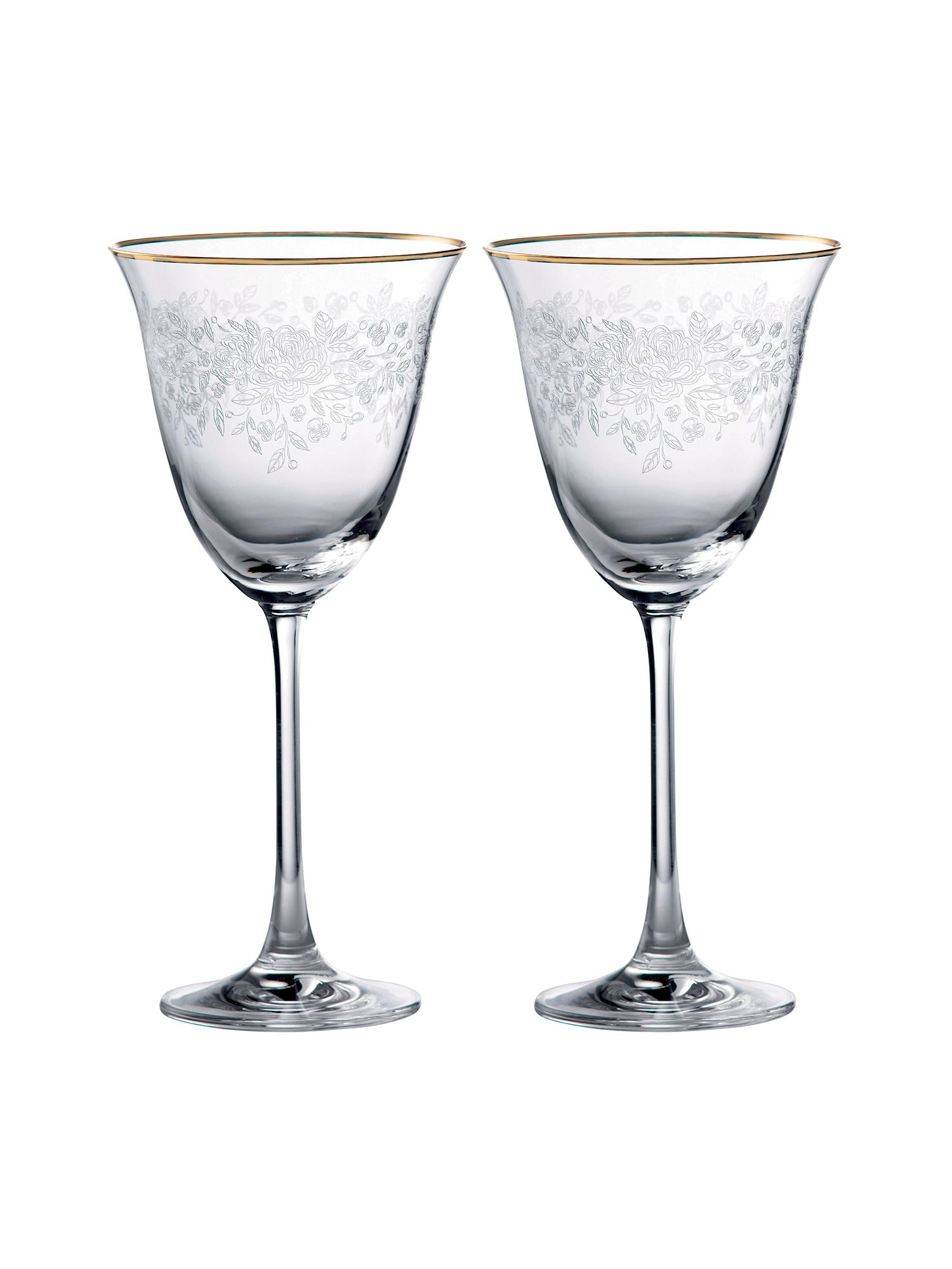 Set of 2 crystal wine glasses