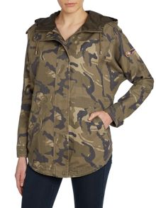 Camouflage drawcord waist parka