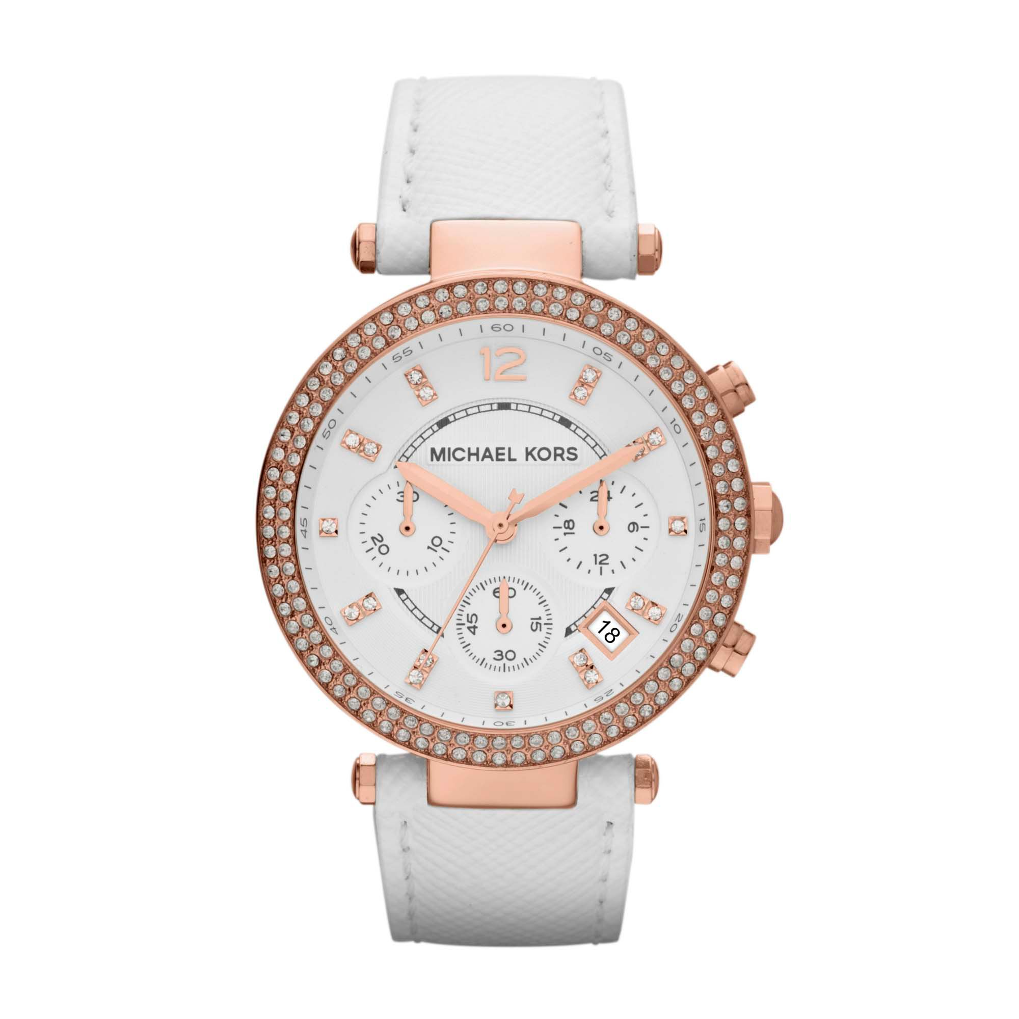 MK2281 white genuine leather ladies watch