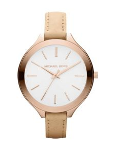 MK2284 Runway Rose Nude Leather Ladies Watch