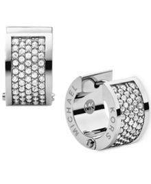 Brilliance Silver Pave Huggie Earrings