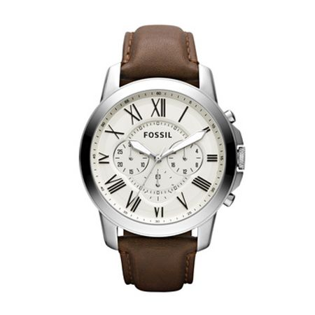 fossil fs4735 grant brown leather mens house of fraser