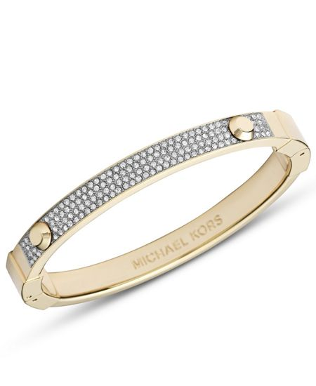 Michael Kors Brilliance Gold Pave Astor Hinge Bangle