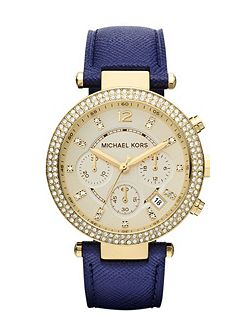 MK2280 Parker Gold Blue Leather Ladies Watch