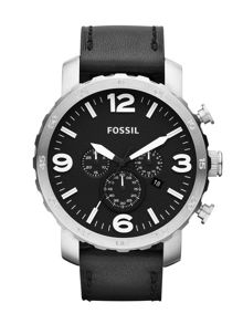 JR1436 Nate Black Leather Mens Watch