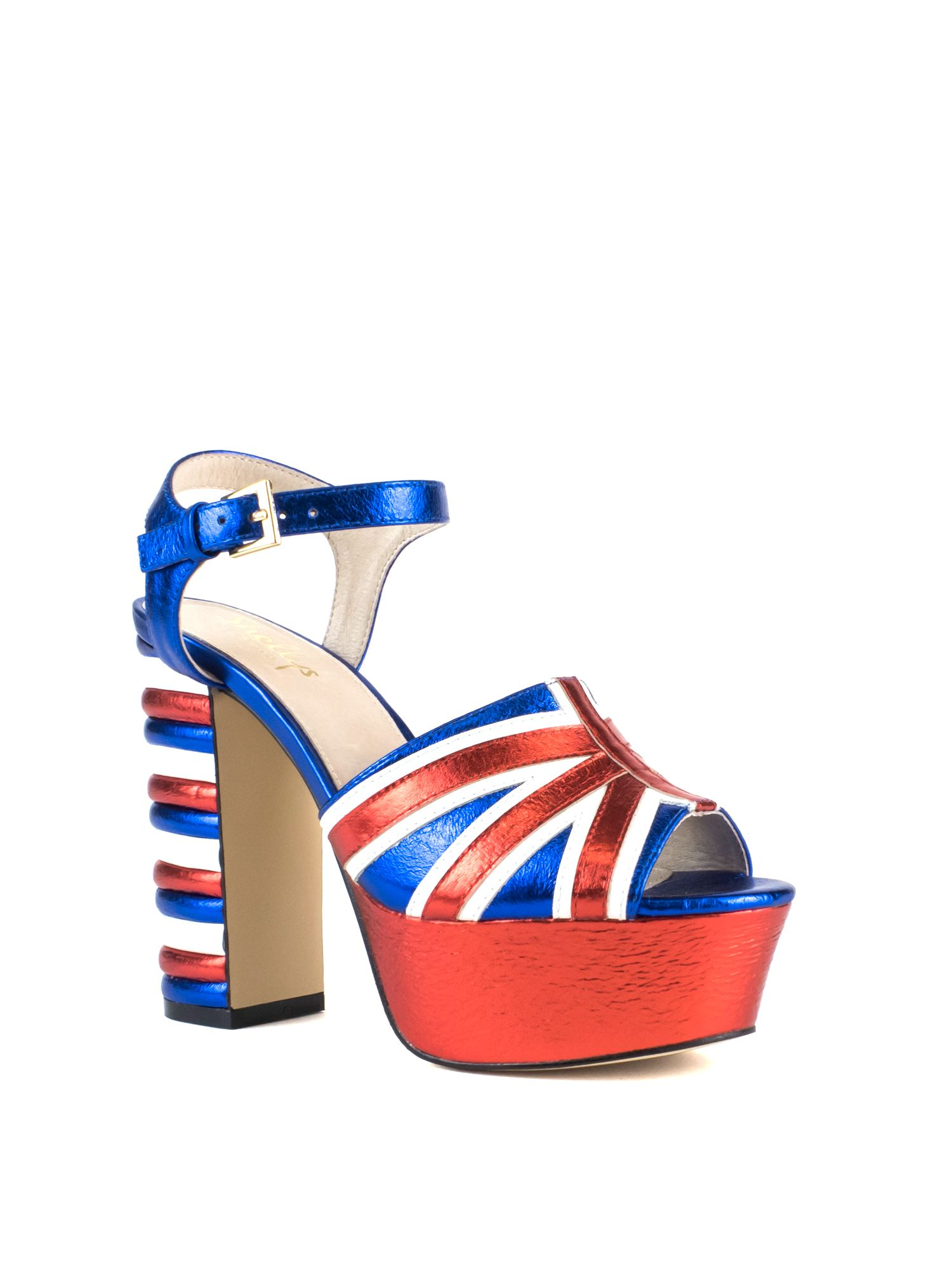 Shellys London Dooriya statement flag peep toe heels, Blue