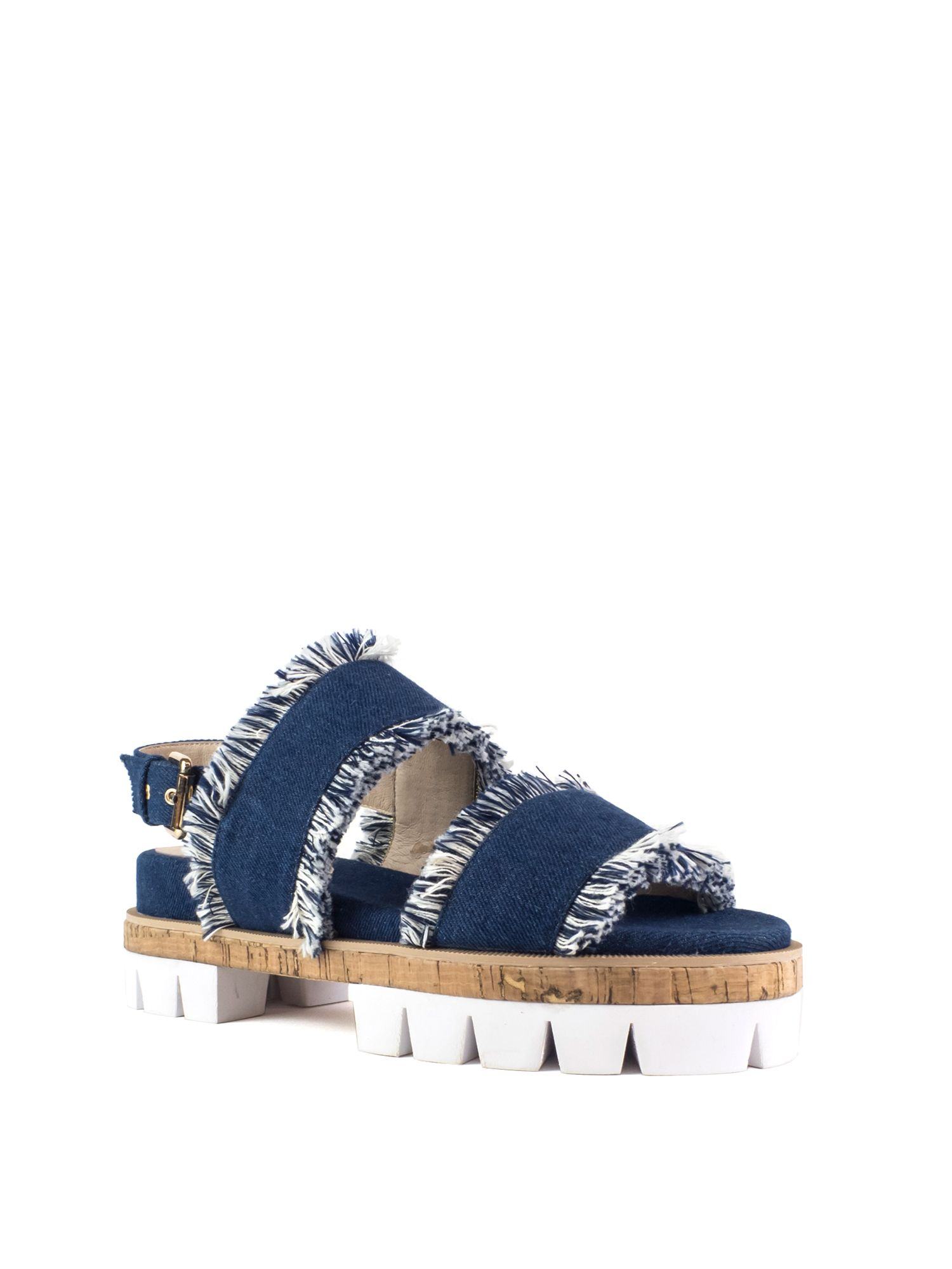 Shellys London Dembe frayed denim cleated sole sandals, Blue
