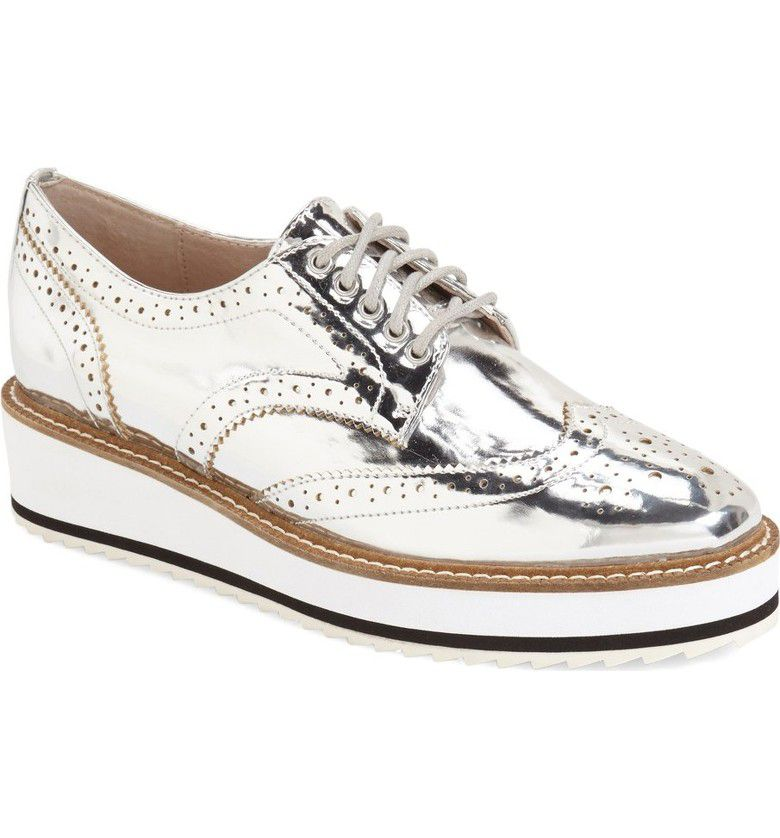 Shellys London Emma oxford flatform brogues, Silverlic