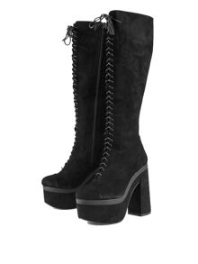Shellys London Bank knee high lace up platform boots