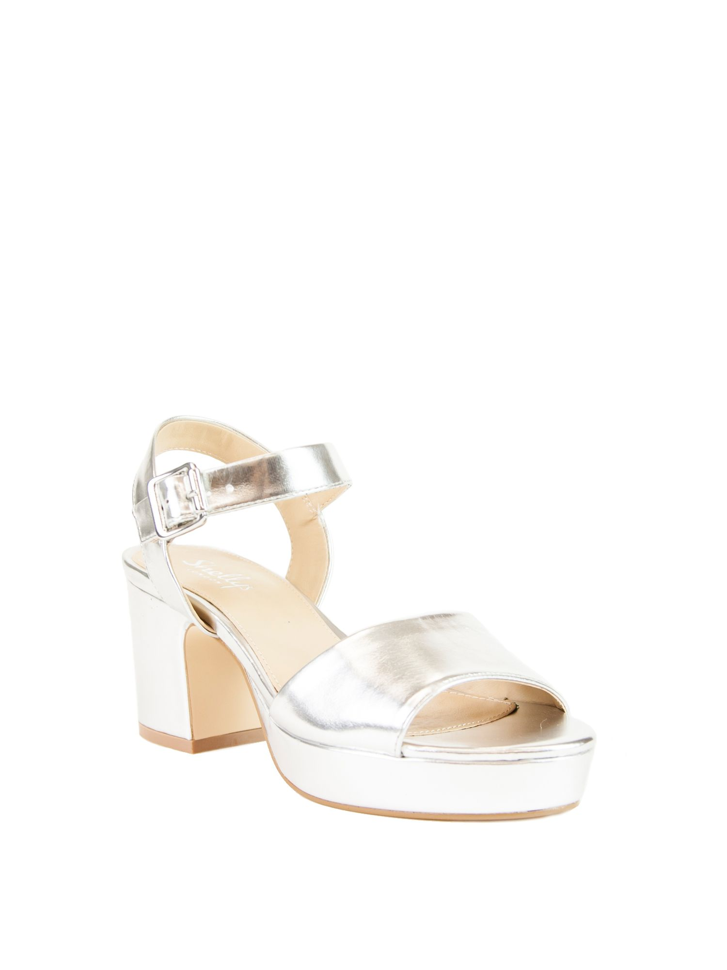 Shellys London Diggy low block heels, Silverlic