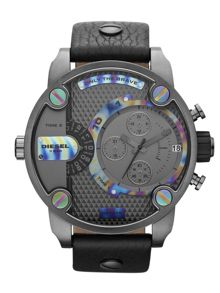 DZ7270 Little Daddy Black Leather Mens Watch