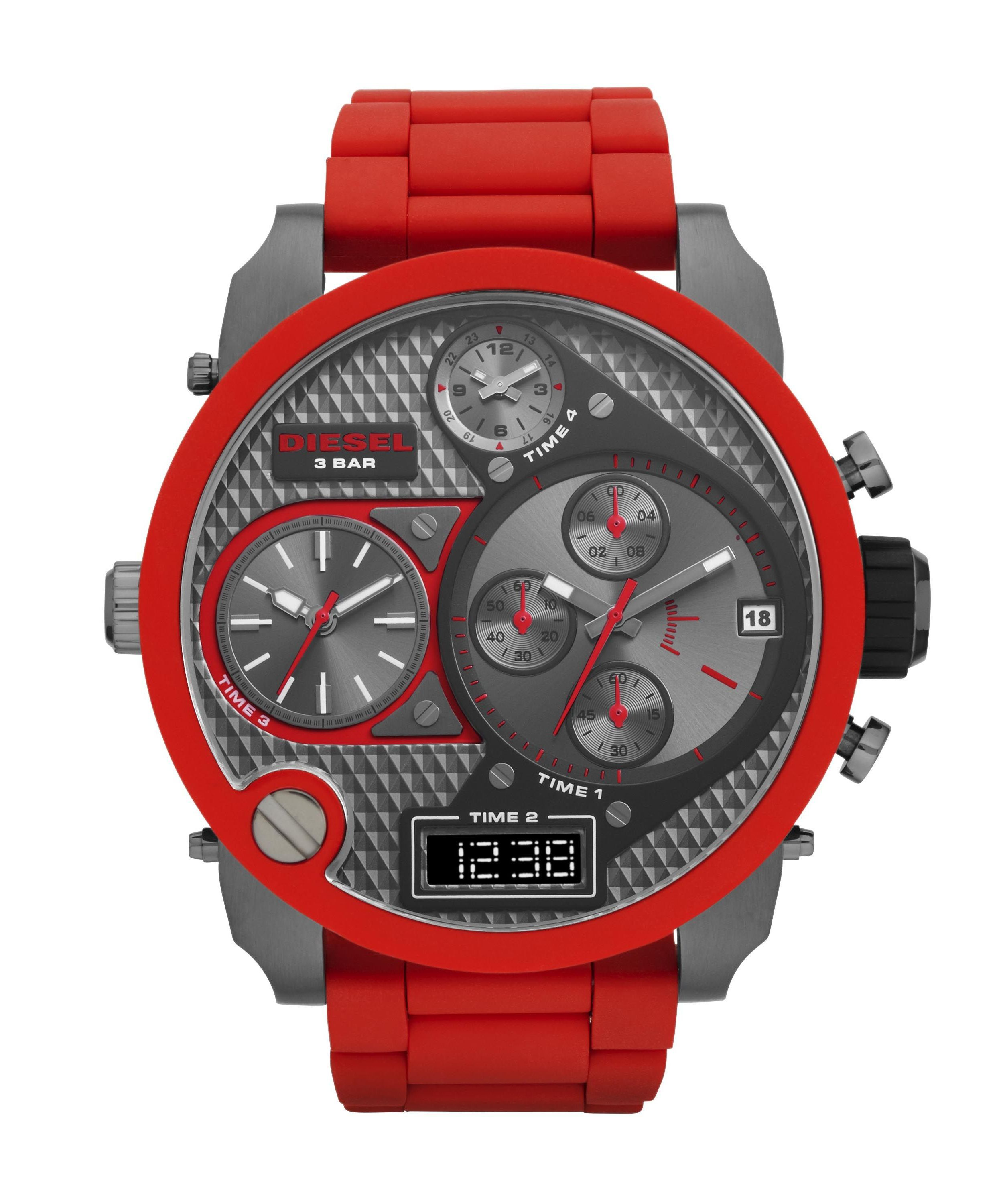 Diesel DZ7279 SBA silicone/stainless steel mens watch, Red