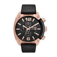 Diesel DZ4297 Overflow black leather mens watch