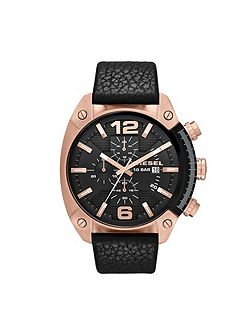 DZ4297 Overflow black leather mens watch