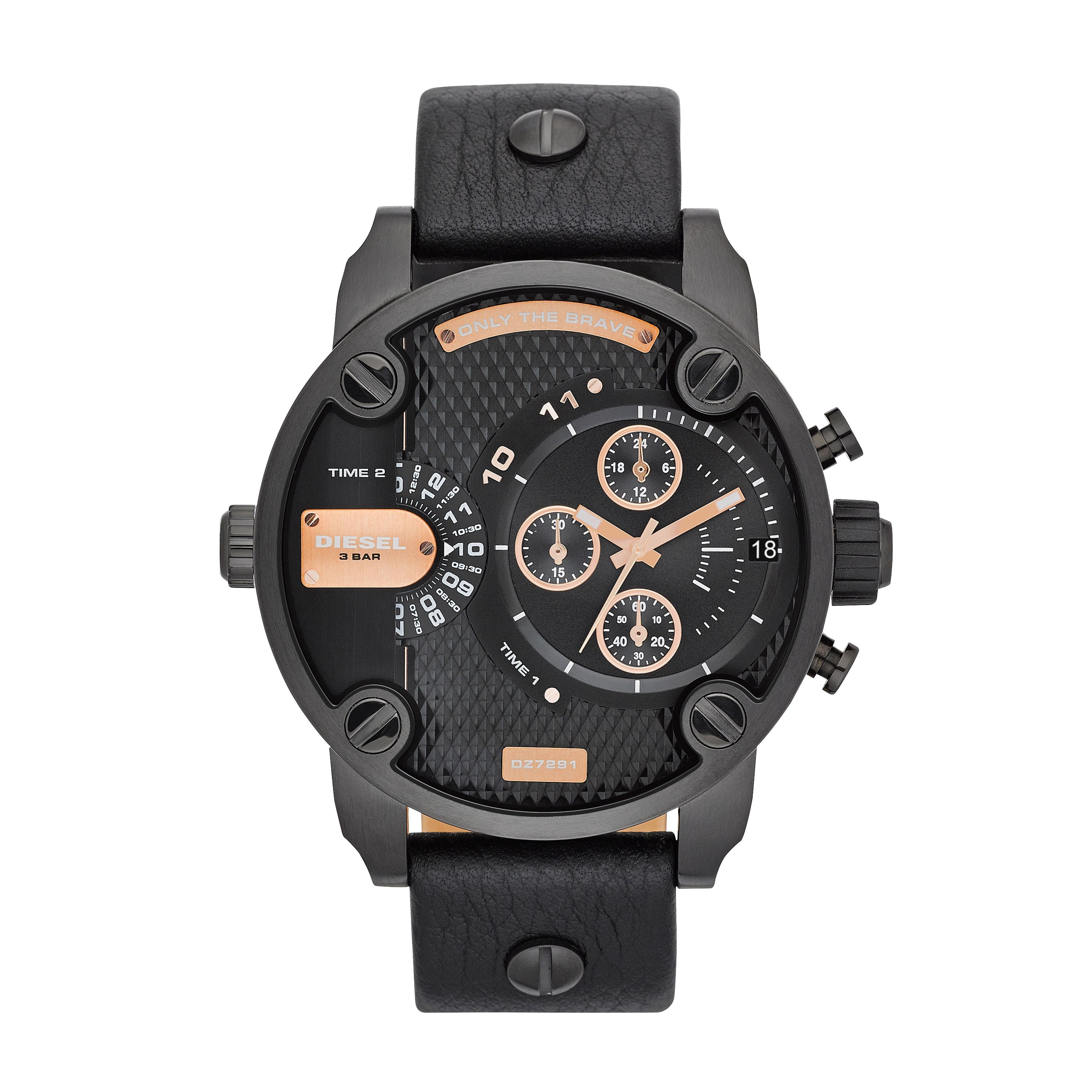 DZ7291 Little Daddy Black Leather Mens Watch