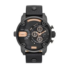 Diesel DZ7291 Little Daddy Black Leather Mens Watch