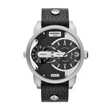 DZ7307 Mens Black leather dual time watch