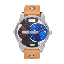 DZ7308 Mens Tan leather dual time watch