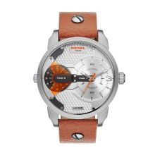 DZ7309 Mens brown leather dual time watch