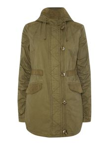 gathered sleeved Jacket with drawcord hood