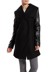 Dawn Levy wool coat with leather sleeves