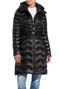 Quilted down hooded jacket