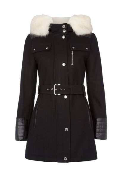 Halifax Traders Wool Hooded Coat with Faux Fur Trim