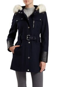 Wool Hooded Coat with Faux Fur Trim