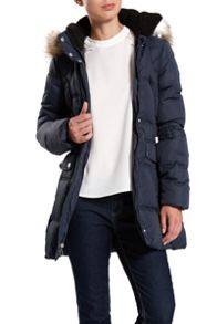 Quilted jacket with faux fur inside hood