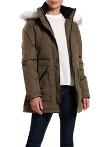 Faux fur hooded down jacket